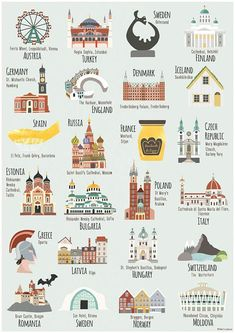This is an print of some of the the beautiful & interesting architecture & places you can visit in Europe taken from my illustrated map of Europe. Places include - Florence, Moscow, Mousehole, The Matterhorn, Bergen & many more. The map is a digital Travel Maps, Travel Posters, Travel Packing, Bullet Journal Voyage, Voyage Europe, Travel Illustration, Backpacking Europe, Travel Scrapbook, Grafik Design