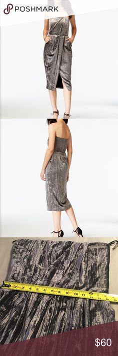 RACHEL Rachel Roy Metallic Strapless Midi Dress!!! Beautiful RACHEL Rachel Roy Strapless Dress!! RACHEL Rachel Roy Dresses Midi