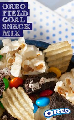 All it takes to make OREO Field Goal Snack Mix are your favorite snacks and a home full of hungry guests. Combine chopped-up OREO Cookies with potato chips, popcorn, pretzel sticks and candy-coated chocolate pieces, and you'll be enjoying the game-day goodness at your Big Game celebration before you know it.