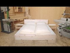 DIY Wooden Bed, made with FELDER® woodworking machines - YouTube Woodworking Techniques, Woodworking Projects, Pine Beds, Wooden Toys For Toddlers, How To Make Bed, Wooden Diy, Free Design, Small Spaces, Easy Diy