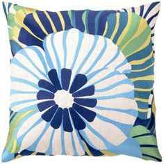 Trina Turk Pillow Embroidered Linen Sea Floral Blue - Final Sale