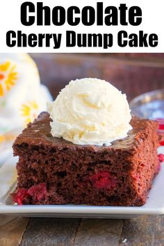 This chocolate cherry dump cake only requires 3 ingredients and it is the moistest cake packed with sweet cherries you will ever make. Perfect dessert. #chocolate #cherry #dumpcake #cake
