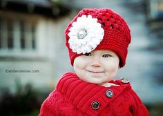 Red Puff Stitch Crochet Hat with Flower