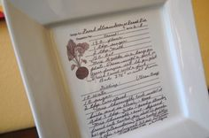 This Etsy seller transfers handwritten recipes onto serving dishes. Heirlooms!