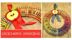 crayon wreath it into heart for valentines day.