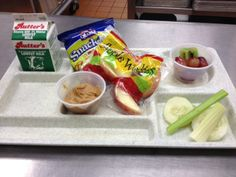 """We serve this as an alternate to the hot meal of the day. It includes a bagged snack, apple slices and 2 oz. of peanut butter for dipping. The student can also select additional fruits and vegetables."" This Apple Munchable is from our friend Wendy Garman, Northeastern School District, Pennsylvania"