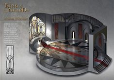 The design for the throne room done for the project. Fantasy City, Fantasy Castle, Medieval Fantasy, Fantasy World, Minecraft Rp, Small Game Rooms, Concept Art Gallery, Palace Interior, Building Concept