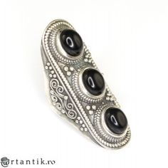 inel tribal hindus - aliaj argint si onix natural - manufactura India
