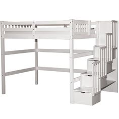 "The staircase can be placed on the left or right side of the Full (Double) loft. 	Space efficient design. 	Size: 59"" x 97"" x 67""H. 	Clearance space - 52"". 	Crafted of Solid Pine Wood - No Particle Board. 	Can accommodate standard full size mattress."