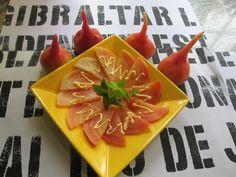 chiogga beet salad with lime and sriracha aioli