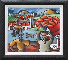 """Le cycliste"" x Acrylic on board marouflé Acrylic Art, Bowser, Mauritius, Wall Art, Character, Canvas, Board, Artist, Mauritius Island"
