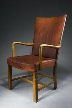 Fritz Hansen, Beech and Leather Armchair, 1940
