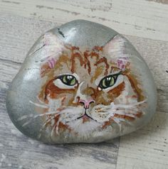 Cat painted on stone