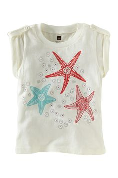 Sea Star Tab-Shoulder Tee (Baby & Big Girls) on HauteLook - Tea Collection