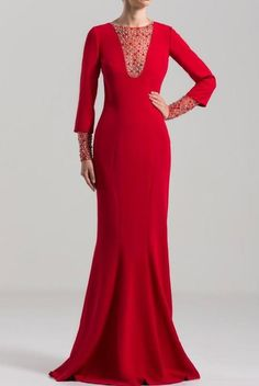SAIID KOBEISY on Sale: Red Long Sleeve Mermaid-Cut Gown Buy from Best selection of authentic designer dresses online. Saiid Kobeisy, Dress Cuts, Modest Dresses, Formal Gowns, Fitted Bodice, Dresses Online, Designer Dresses, Evening Dresses, Mermaid