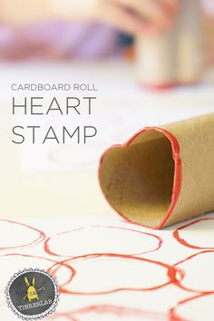 Easy and fun Valentine Crafts for Kids: How to make a simple and colorful Cardboard Roll Heart Stamp with Kids Valentine's Day Crafts For Kids, Art Activities For Kids, Diy For Kids, Kid Crafts, Toddler Activities, Toddler Fun, Kids Fun, Preschool Ideas, Diy Valentines Cards