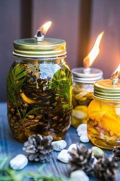 Vyrobte si aromalampu, která navíc odpudí komáry - Proženy Xmas, Christmas, Homemade Gifts, Diy And Crafts, Mason Jars, Food And Drink, Candles, Garden, Projects