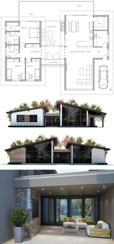 Floor Plan: I love this plan! The separation of living/entertainment space from the sleeping quarters is so great! Modern House Plans, Small House Plans, House Layouts, Architecture Plan, Bungalows, Exterior Design, Home Projects, Future House, Building A House
