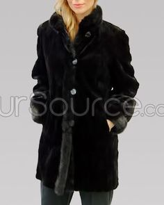 Reversible Black Sheared Mink Jacket with Mink Trim with Thick Cuffs and Collar-