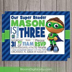 Super Why Invitation  Super Reader  Wyatt  DIY by BloomsDigital, $6.50