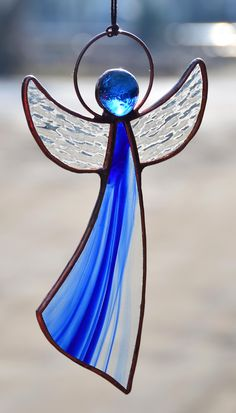 Angel gift, boho decor, stained glass angel suncatcher, angel ornaments, Tiffany angel ornaments, guardian angel, blue Wedding gift