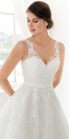 Ella Rosa Gallery GA2313 | fun cute tea length lace gown | lace straps and key hole lace back | romantic garden wedding #weddinggown #weddingdress