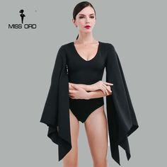 Missord 2017 Sexy V-neck bat sleeve bodysuit FT4169