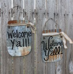 Welcome y'all mason jar tin sign rustic wall decor wall. Corigated Metal, Metal Work, Rustic Wall Decor, Rustic Signs, Country Decor, Rustic Wood, Metal Welcome Sign, Tin Signs, Metal Signs