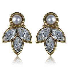 1960s Vintage Napier Crystal Pearl Earrings