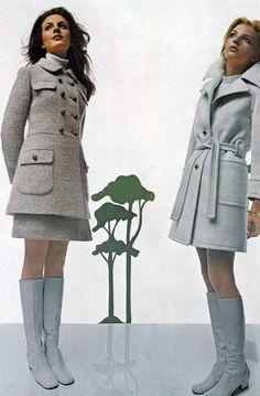 Retro Fashion 1969 - UK Vogue mini dress wool coat skirt boots white tweed cremate early looks modern Sixties Fashion, 60 Fashion, Fashion History, Timeless Fashion, Retro Fashion, Winter Fashion, Vintage Fashion, Womens Fashion, Fashion Design