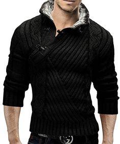 merish Sudadera de punto jersey cuello de piel chaqueta de punto con capucha Slim Fit Hombre 548 negro S