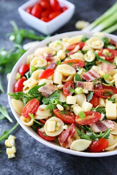 Bacon Pasta Salad with corn and tomatoes is a summer favorite! Everyone loves this easy pasta salad!