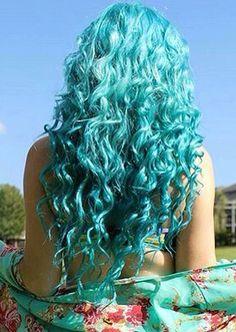 Blue Ombre Hair, Colored Curly Hair, Long Face Hairstyles, Wig Hairstyles, Hair Inspo, Hair Inspiration, Beautiful Hair Color, Air Dry Hair, Fantasy Hair
