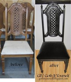 ideas for bedroom diy goth home decor Dark Home Decor, Goth Home Decor, Gothic Furniture, Home Furniture, Gothic Chair, Furniture Stores, Horror Decor, Diy Chair, Home And Deco