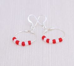 Dainty red and white beaded earrings for a Valentine's Day gift!  #TeamColorsByCarrie