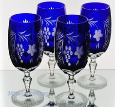 4 Ajka Marsala Cobalt Blue Cut to Clear Crystal Water Tea Goblets Glasses New | eBay