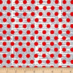 Designed by Jen Allyson for Riley Blake, this cotton print fabric features a subtle text print under colorful polka dots. Perfect for quilting, apparel and home decor accents. Colors include  cream, navy and red.