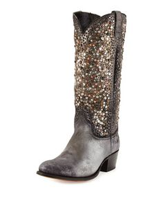 Deborah+Studded+Leather+Tall+Boot,+Silver+by+Frye+at+Neiman+Marcus.