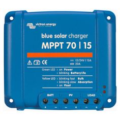 Maximum Power Point Tracking (MPPT) is a way to get the optimum performance from a Solar Panel. This Victron MPPT Charge Controller is for 12 or 24 volt battery banks and can be used with any solar panels with up to 75 Volts output. Smartphone, Solar Energy, Solar Power, Installation Solaire, Power Points, Green Led, Solar Panels For Home, Solar Charger, Lead Acid Battery