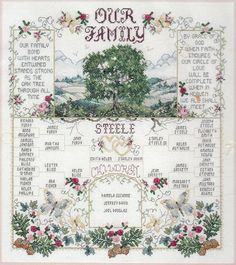 Large Our Family Tree Sampler Genealogy by FamilyTreeStitchery, $400.00