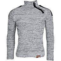 TAZZIO Herren Pullover Grobstrick | Modischer Rollkragenpullover | Winterpullover Zierknöpfe | Pulli Größe S - 3XL