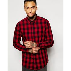 ASOS Shirt In Long Sleeve With Smart Buffalo Plaid ($27) ❤ liked on Polyvore featuring men's fashion, men's clothing, men's shirts, men's casual shirts and red