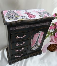 Upcycled Wood Jewelry Box France Paris by TreasuresbyMarylou, $65.00