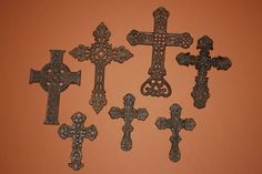 (7), MONTERREY COLLECTION, CAST IRON WALL CROSSES, WESTERN DECOR, COUNTRY DECOR