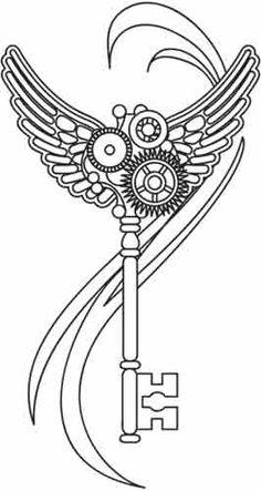 Steam Motifs - Winged Key design (UTH2337) from UrbanThreads.com