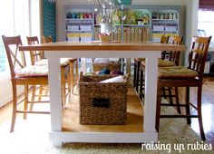 Raising Up Rubies Craft Room Makeover - screen printing / craft table, plus storage for shirt bins underneath! Sewing Room Organization, Craft Room Storage, Craft Rooms, Organizing Crafts, Organization Ideas, Funky Junk Interiors, Office Interiors, Dining Table With Storage, Table Diy