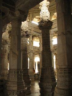 India - Udaipur  columned interior of Ranakpur Jain Temple