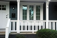 craftsman style porch railings porch railing design adding craftsman elements changed this whole house duplex craftsman porch railing exterior railing porch railing craftsman style deck railing ideas Front Porch Railings, Front Porch Design, Deck Railings, Screened In Porch, Railing Ideas, Porch Railing Designs, Porch Railing Plans, How To Build Porch Railing, Porch Balusters
