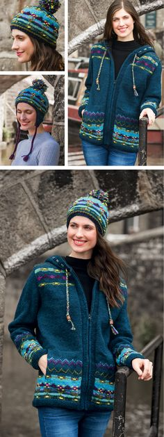 Hand knitted in fine wool in a beautiful rich teal colour, features delicate hand embroidery. Hand made in Nepal, fairly traded by Namaste.