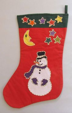 VTG Crate and Barrel Tag Textiles Christmas Stocking Snowman Handstitched 1993 #CrateandBarrelTagTextiles